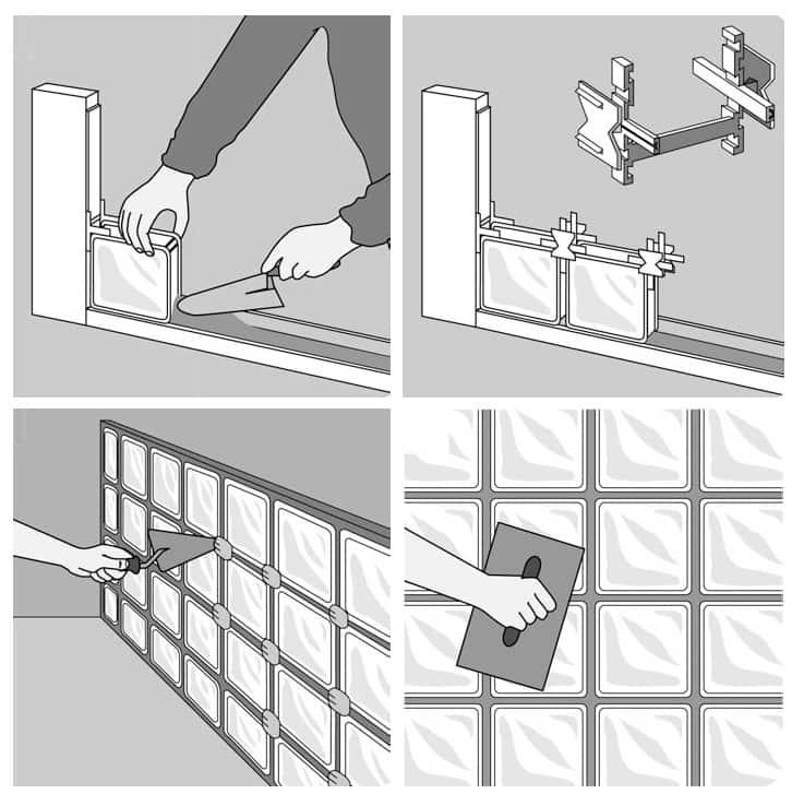 Colocacion bloques de vidrio cheap tabiques con bloques de vidrio with colocacion bloques de - Como colocar ladrillos de vidrio ...