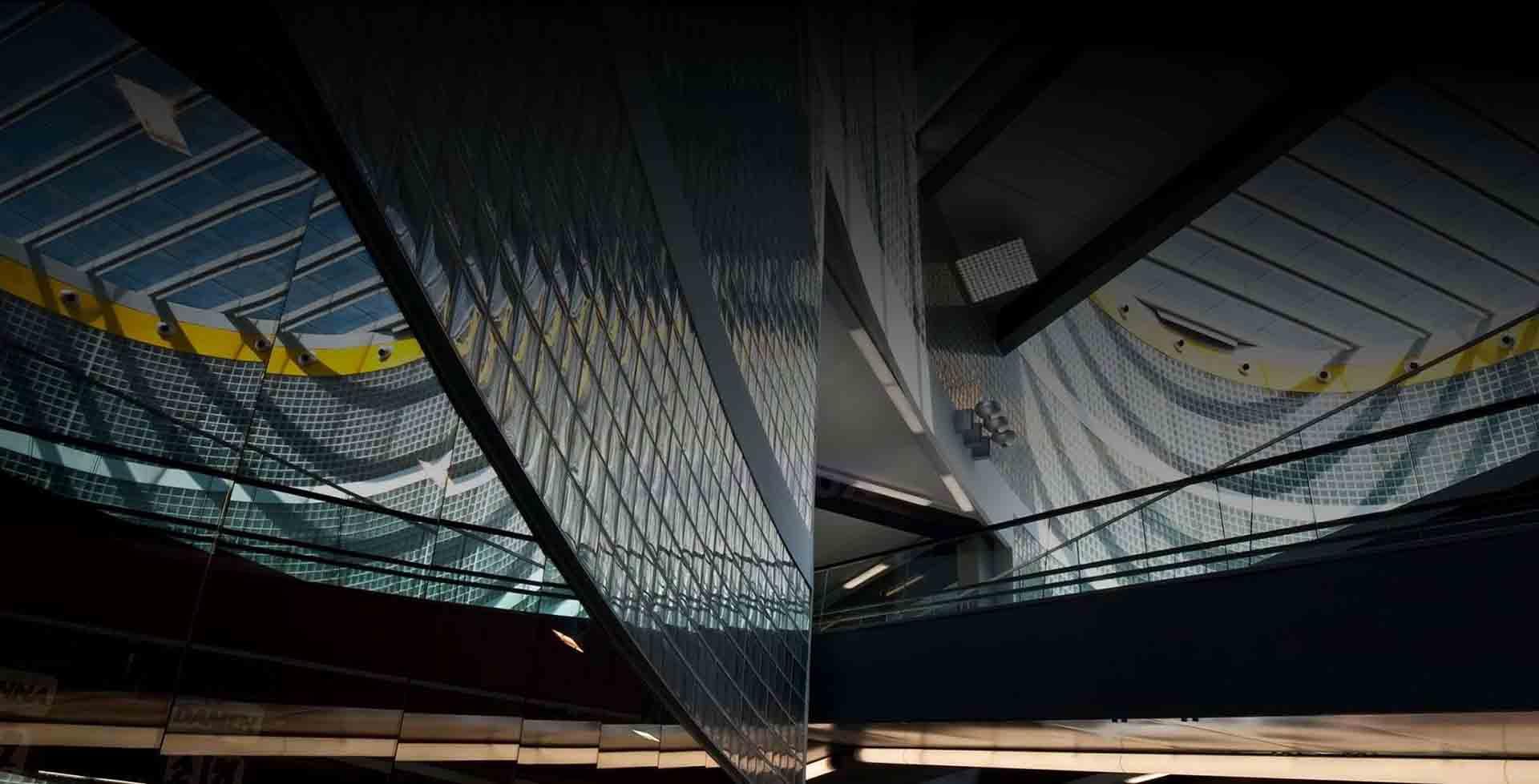 edificio architettonico in mattoni di vetro hermes